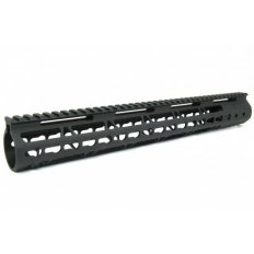 "AR15 Slim KeyMod Free Floating Modular Handguard with Rails- 15"" Rifle Length- Aluminum Black- HG09-15"