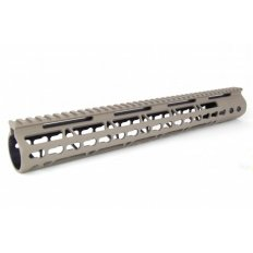 "AR15 Slim KeyMod Free Floating Modular Handguard with Rails- 15"" Rifle Length- Aluminum Tan- HG09-T-15"