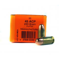 HSM .45 ACP 230 Gr. Plated Round Nose- Remanufactured- HSM-45A-12R