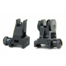 AR15 Detachable Same Plane Low Profile Sight Set with A2 Style Adjustable Windage and Elevation- Black
