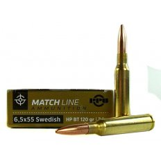 Prvi Partizan Match 6.5x55mm Swedish Mauser 120 Gr. Hollow Point Boat Tail PPM6