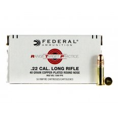 Federal Range Target Practice (RTP) .22 Long Rifle 40 Gr. Copper Plated Round Nose- RTP2240