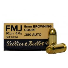 Sellier & Bellot .380 ACP 92 Gr. Full Metal Jacket- Box of 50 SB380A