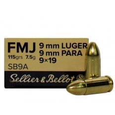Sellier & Bellot 9mm Luger 115 Gr. FMJ- Box of 50 SB9A