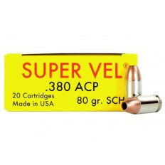 Super Vel Pocket Rocket .380 ACP +P 80 Gr. Solid Copper Hollow Point- Box of 20 SV38080-20