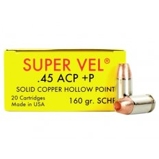 Super Vel .45 ACP +P 160 Gr. Solid Copper Hollow Point- Box of 20 SV45160SCHP-20
