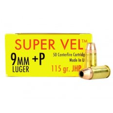 Super Vel 9mm Luger +P 115 Gr. Jacket Hollow Point- Box of 50 SV9115-50