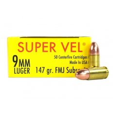 Super Vel Hush Puppy 9mm Luger 147 Gr. Full Metal Jacket- Subsonic- Box of 50 SV9147-50