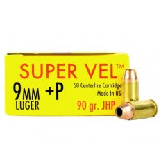 Super Vel 9mm Luger +P 90 Gr. Jacket Hollow Point- Box of 50 SV990-50