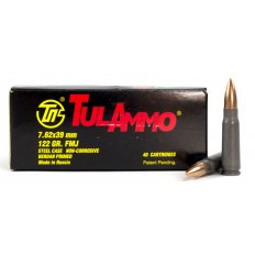 TulAmmo 7.62x39mm 122 Gr. FMJ (Bi-Metal) Steel Case Berdan Primed- Box of 40