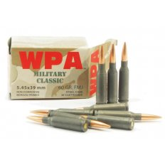 Wolf Military Classic 5.45x39 60 Gr. Full Metal Jacket (Bi-Metal) Steel Case Berdan Primed- Box of 30