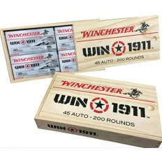 Winchester Win1911 .45 ACP 230 Gr. Wooden Gift Box  FMJ/ JHP- Wood Box of 100 FMJ/ 100 JHP