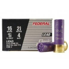 "Federal Game-Shok Hi-Brass 16 Gauge 2-3/4"" 1-1/8 oz #4 Shot- Box of 25"