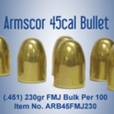 Armscor Bullets .45 Caliber (.451) 230 Gr. Full Metal Jacket- Bag of 100