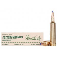 Weatherby .257 Weatherby Magnum 80 Gr. Barnes Tipped Triple-Shock X Bullet- Lead-Free- Box of 20