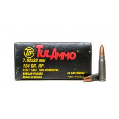 TulAmmo 7.62x39mm 124 Gr. Hollow Point (Bi-Metal) Steel Case Berdan Primed- Box of 40