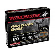 "Winchester 20 Gauge 2-3/4"" 260 Gr. Partition Gold Sabot Slug- Box of 5"