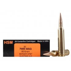 HSM Trophy Gold 7mm Remington Magnum 180 Gr. Berger Hunting VLD Hollow Point Boat Tail- Box of 20
