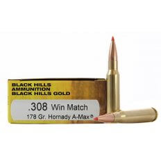 Black Hills Gold .308 Winchester 178 Gr. Hornady A-Max- Box of 20