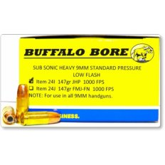 Buffalo Bore 9mm Luger 147 Gr. Sub Sonic Heavy JHP- Box of 20