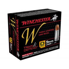 Winchester W Defend Reduced Recoil 9mm Luger 147 Gr. Jacketed Hollow Point- Box of 20
