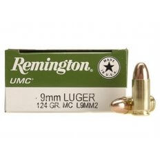 Remington UMC 9mm Luger 124 Gr. Full Metal Jacket- Box of 50