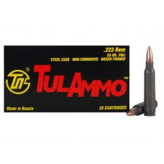 TulAmmo .223 Remington 55 Gr. FMJ (Bi-Metal) Steel Case Berdan Primed- Box of 20