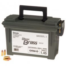 CCI Blazer Brass 9mm Luger 115 Gr. FMJ- Plastic Ammo Can of 350