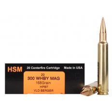 HSM Trophy Gold .300 Weatherby Magnum 168 Gr. Berger Hunting VLD Hollow Point Boat Tail- Box of 20