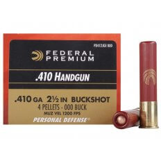 "Federal Premium Personal Defense Ammunition .410 Bore 2-1/2"" 000 Buckshot 4 Pellets- Box of 20"