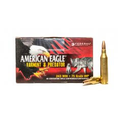 Federal American Eagle Varmint & Predator .243 Winchester 75 Gr. Jacketed Hollow Point- AE24375VP