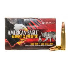 Federal American Eagle Varmint & Predator .308 Winchester 130 Gr. Jacketed Hollow Point AE308130VP
