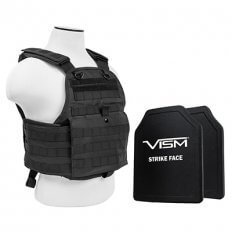 VISM MOLLE Plate Carrier with 2 PE Ballistic Plates- Black BPCVPCV2924B-A