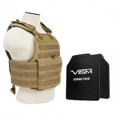 VISM MOLLE Plate Carrier with 2 PE Ballistic Plates- Tan BPCVPCV2924T-A