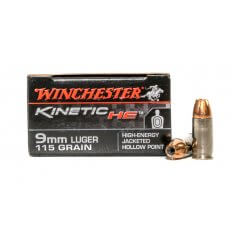 Winchester Kinetic HE 9mm Luger 115 Gr. High-Energy Jacketed Hollow Point- HE9JHP