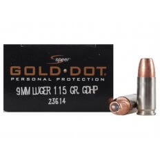 Speer Gold Dot 9mm Luger 115 Gr. JHP- Box of 20
