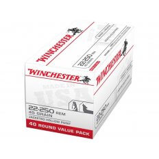 Winchester USA .22-250 Remington 45 Gr. Jacketed Hollow Point- Box of 40