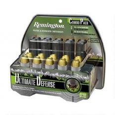 "Remington Ultimate Defense Combo Pack .45 Colt 230 Gr. Brass Jacketed Hollow Point and .410 2-1/2"" 000 Buckshot 4 Pellets- Pack of 20"