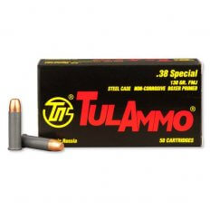 TulAmmo .38 Special 130 Gr. FMJ (Bi-Metal) Steel Case Berdan Primed- Box of 50