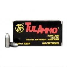 TulAmmo 9mm Luger 115 Gr. Full Metal Jacket (Bi-Metal) Steel Case Berdan Primed TA919100