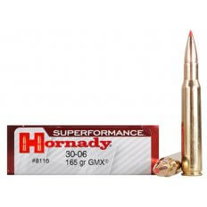 Hornady SUPERFORMANCE GMX .30-06 Springfield 165 Gr. GMX Boat Tail- Lead-Free- Box of 20