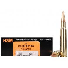 HSM Trophy Gold .30-06 Springfield 185 Gr. Berger Hunting VLD Hollow Point Boat Tail- Box of 20