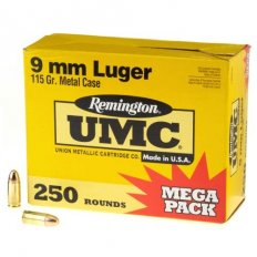Remington UMC 9mm Luger 115 Gr. FMJ- Mega Pack of 250