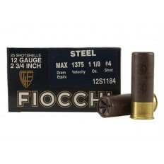 "Fiocchi Exacta 12 Gauge 2-3/4"" 1-1/8 oz #4 Steel Shot- Box of 25"