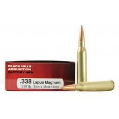 Black Hills .338 Lapua Magnum 250 Gr. Sierra MatchKing Hollow Point Boat Tail- Box of 20