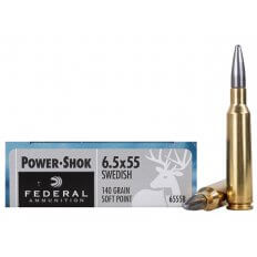 Federal Power-Shok 6.5x55mm Swedish Mauser 140 Gr. Soft Point Moly Coated 6555B
