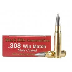 Black Hills .308 Winchester 168 Gr. Match Hollow Point Boat Tail Moly Coated- Box of 20