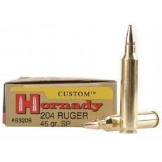 Hornady Custom .204 Ruger 45 Gr. Jacketed Soft Point- Box of 20