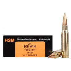 HSM Trophy Gold .308 Winchester 168 Gr. Berger Hunting VLD Hollow Point Boat Tail- Box of 20