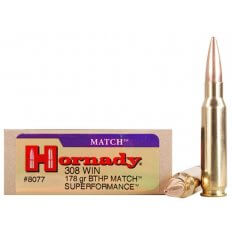 Hornady SUPERFORMANCE .308 Winchester 178 Gr. Boat Tail Hollow Point Match- Box of 20